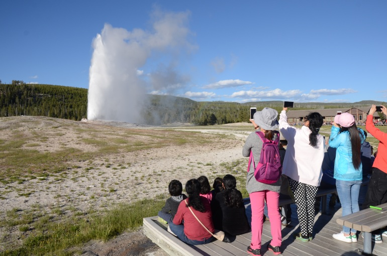 A nice vantage point to watch the Old Faithful