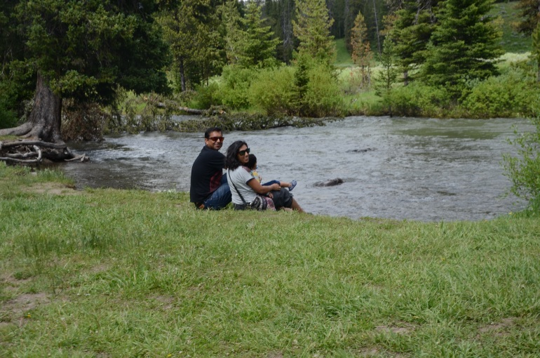 Our picnic by the stream